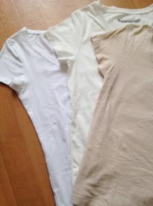 【左から】漂白したようなスノーホワイト!自然なホワイト、ベージュのTシャツ